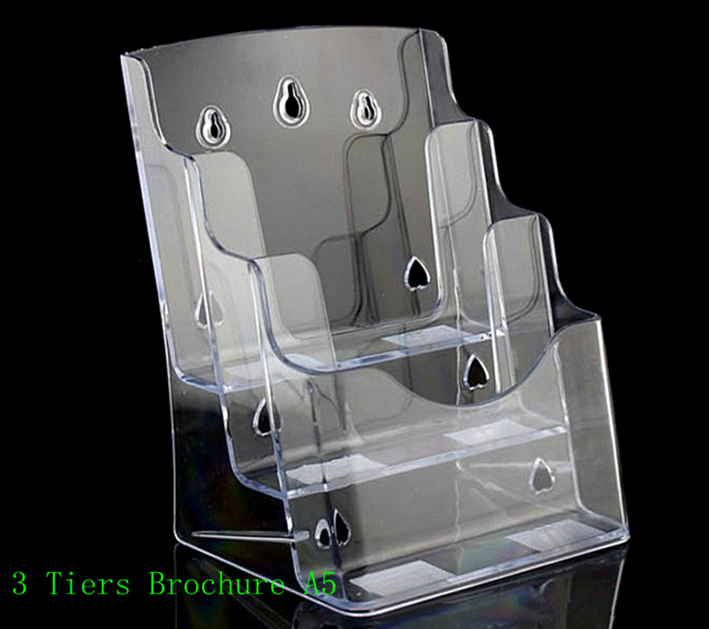 Clear 2pcs A5 3 Tiers Plastic Brochure Literature Pamphlet Display Holder Racks Stand To Insert Leaflet On Desktop clear 2pcs a5 3 tiers plastic brochure literature pamphlet display holder racks stand to insert leaflet on desktop