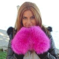 Bravalucia Real Fox Fur Winter Gloves Women Hand Gloves Plus Size Warm Ski Mitten with Belt Genuine Leather Luvas Free Shipping