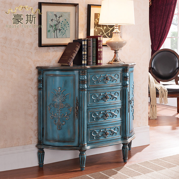 Retro Painted Two Four Bucket Half Living Room Dining Roundtable Assembled Side Storage Cabinets Wooden Kitchen