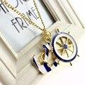 Мода классический стиль Военно-Морского Флота якорь корабль руль ожерелье Текстуры синий и белый изысканный длинное ожерелье рождественский подарок N0335