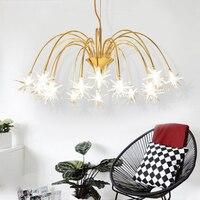 Postmodern creative meteor design iron golden ceiling lamp simple children room art decoration glass stars G4 LED bulb lighting