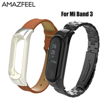 Amazfeel Mi Band 3 Strap Metal For Original Xiaomi Mi Band 3 Stainless Steel Bracelet MiBand 3 Wristbands Replace Wrist Strap