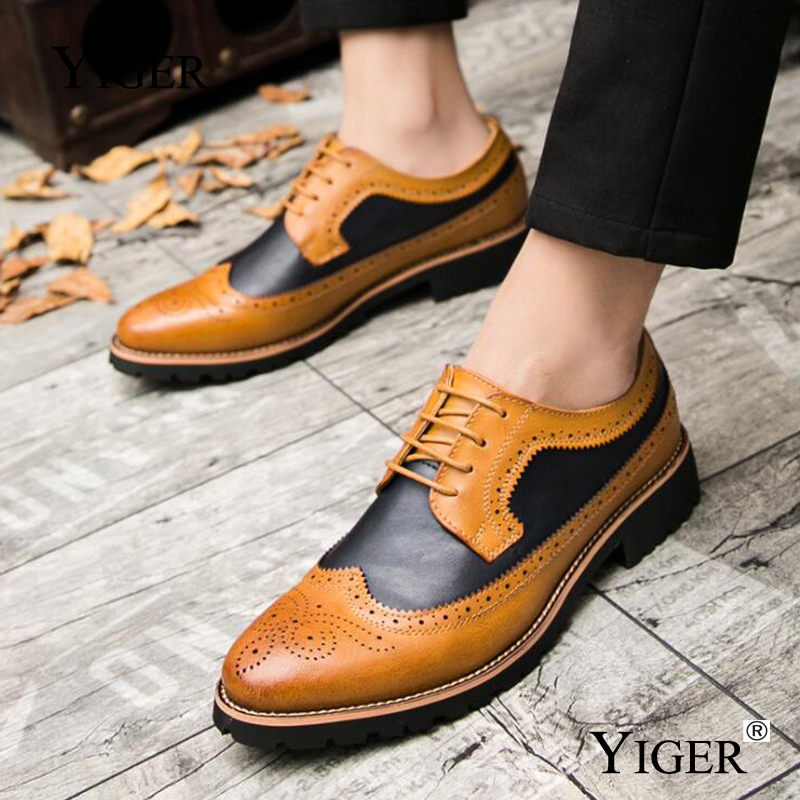 YIGER New Men Brogue shoes Bullock Men Dress Shoes Man Wedding shoes - Men's Shoes - Photo 5