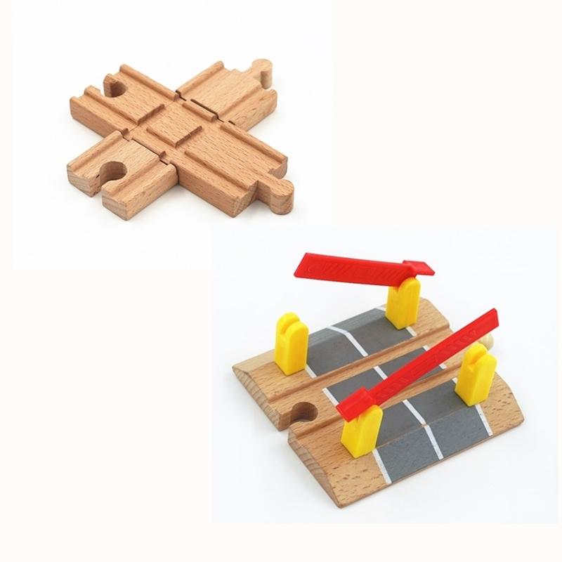 Деревянные железнодорожные трековые аксессуары, крестовые железнодорожные игрушки, совместимые со всеми треками, развивающие игрушки, железнодорожные аксессуары
