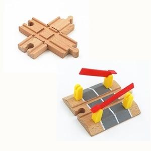 Image 1 - Accessoires de piste de Train en bois, piste croisée, jouets de chemin de fer compatibles avec toutes les pistes, jouets éducatifs, accessoires de chemin de fer
