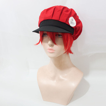 Coshome Anime Hataraku Saibou Wigs Platelet Red Blood Erythrocyte Leukocyte Cosplay Hats Cells at Work Caps