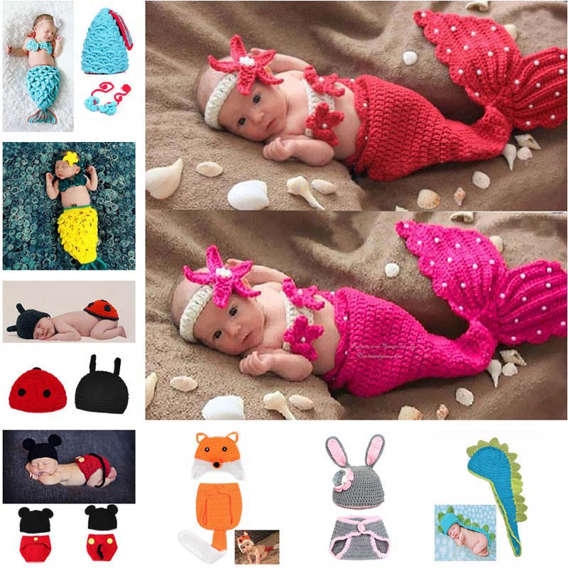 Crochet Knit Neonato Mermaid Tail Costume Baby Photography Puntelli Vestiti Animal Design Neonato Studio Accessori SG059