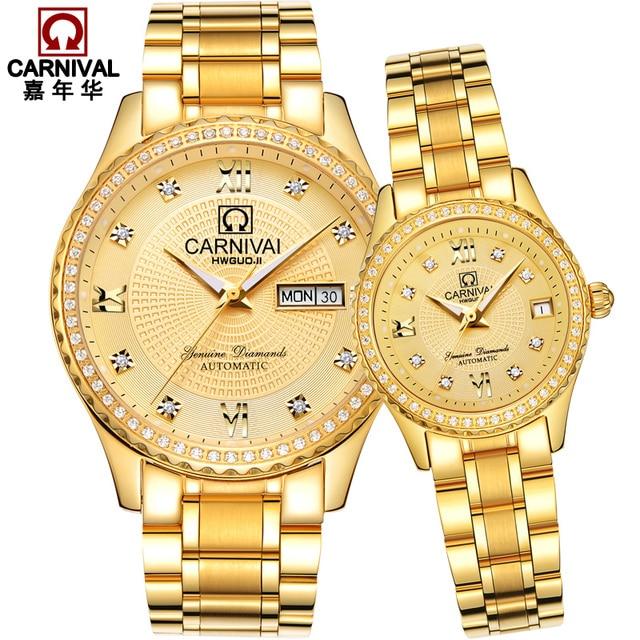 Carnival new Luxury Fashion couple Watch Top Brand Automatic Watch Lovers wristwatches Dual Calendar week Sapphire Waterproof