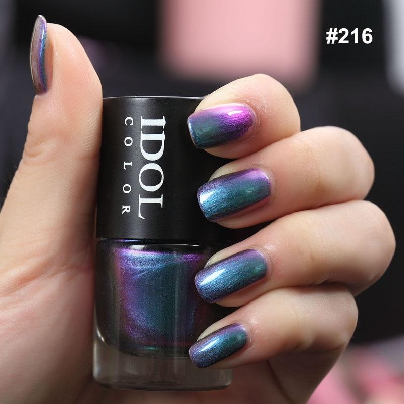 IDOL COLOR Holographic Nail Polish Quick Dry And Smooth Nail Varnish Chameleon Effect Shimmer Polish Nail Long Lasting