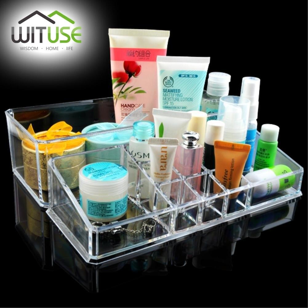 Transparent Acrylic Makeup Cosmetics Organizer Crystal Plastic Desktop Jewelry Storage Box for Bedroom Bathroom Girlfriend Gift