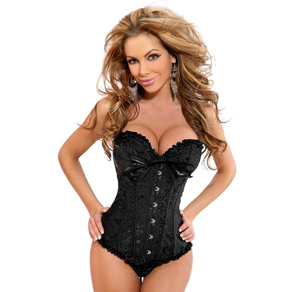 759cfa83c98e2 Oioninos Sexy Ladies Women s Lace up Back Satin Boned Corset Bustier G  string Size S 6XL-in Bodysuits from Underwear   Sleepwears on  Aliexpress.com ...