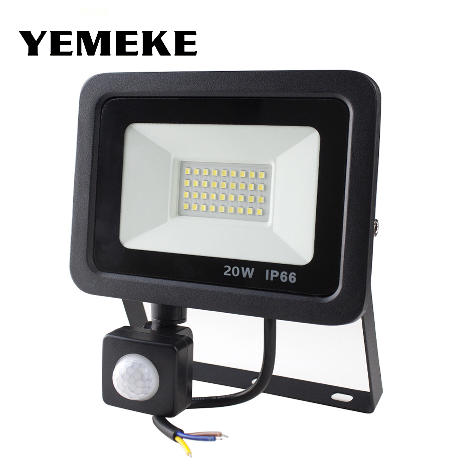 <font><b>Led</b></font> Flood Light Outdoor Spotlight Motion Sensor Floodlight 220V <font><b>10W</b></font> 20W 30W 50W Wall Lamp <font><b>Reflector</b></font> Waterproof Garden Lighting image
