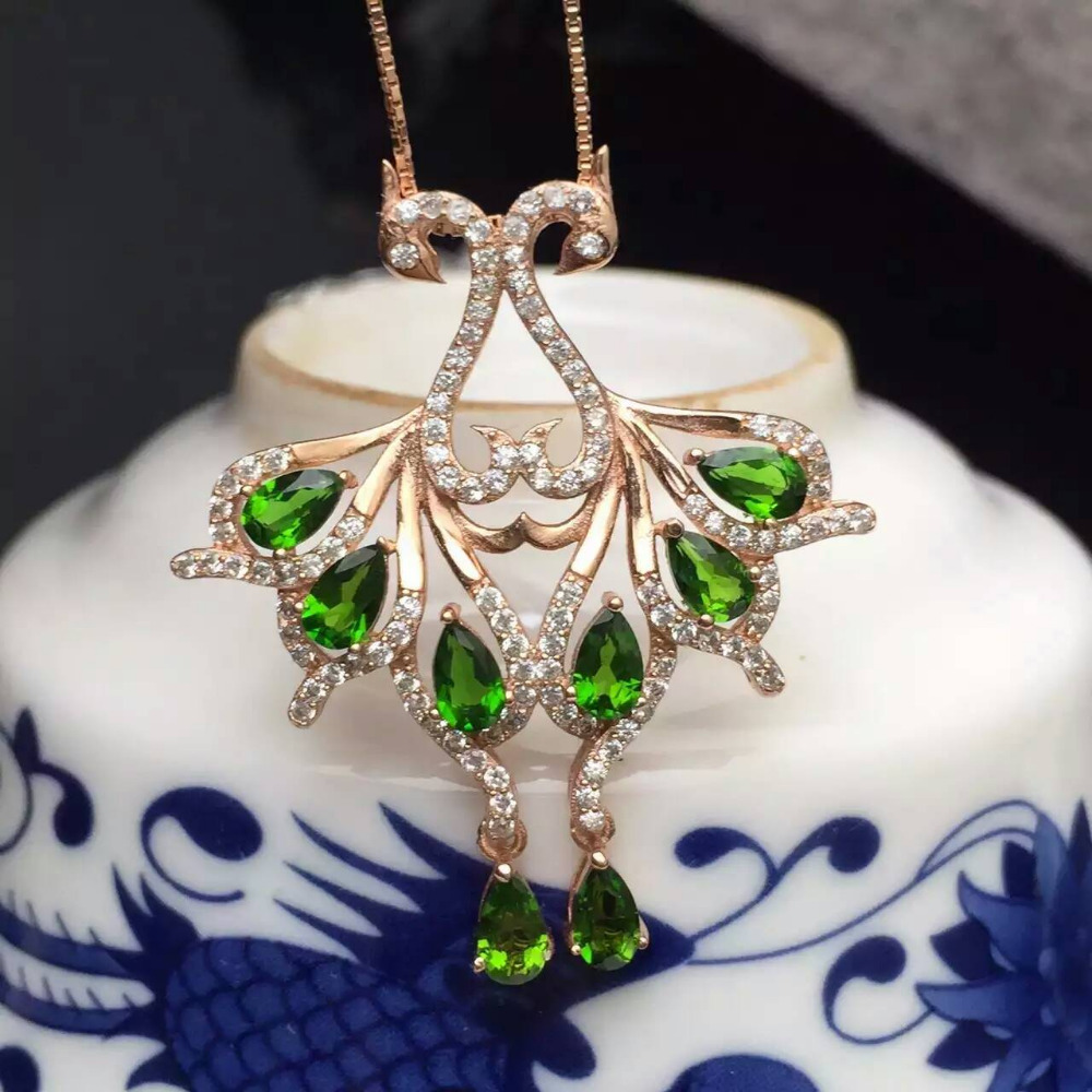 natural Multi-color diopside pendant S925 silver Natural gemstone Pendant Necklace trendy Couple Phoenix women jewelry fashion candy color faux gemstone pendant alloy necklace for women