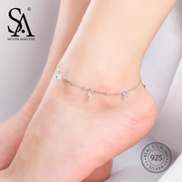 SILVER AGELESS Fine Jewelry 925 Sterling Silver The Flash Anklets for Women Zircon Foot Chain Ankle Bracelet Charms Adjustable