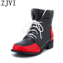 ZJVI 2019 winter woman sexy snow boots for women platform ankle warm gils lace up children ladies low heels shoes kids