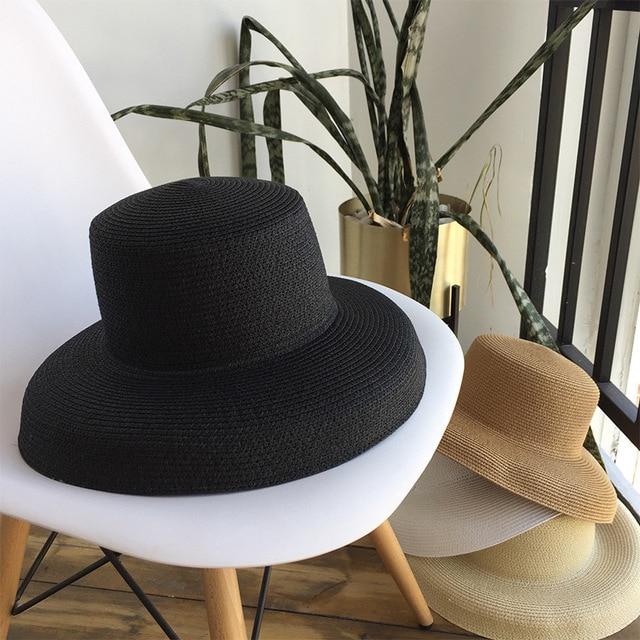 Audrey Hepburn straw hat sunken modelling tool bell-shaped big brim hat vintage high pretend bility tourist beach atmosphere