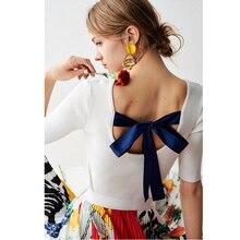 色固体夏のファッションニット背中のブラウススリムレースアップトップス ロシアスタイルすべてのマッチデザイン女性半袖 3