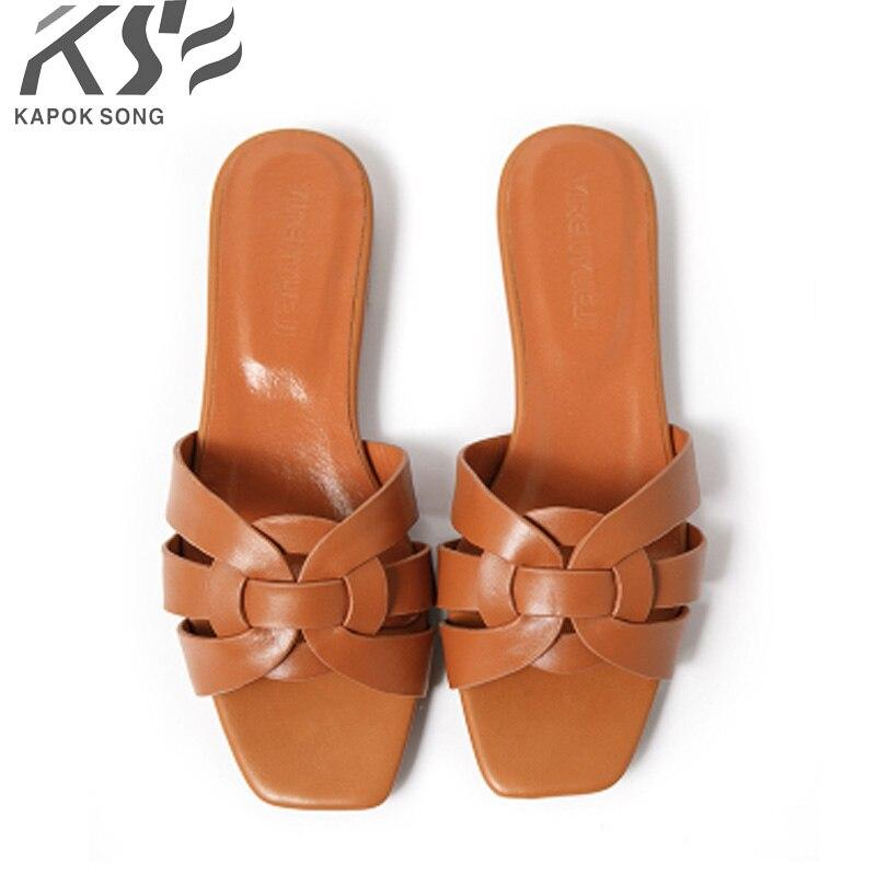 2018 Тонкие Туфли женские летние тапочки fashinal роскошные дизайнерские модели сандалии из натуральной действительно кожа женская обувь отличн...