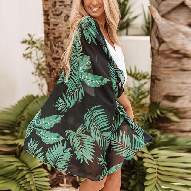 2019 Casual Leaves Print Chiffon Kaftan Beach Cover Up Cardigan Shawl Swimwear Women Summer Swimsuit Pareos Cape Saida De Praia 2