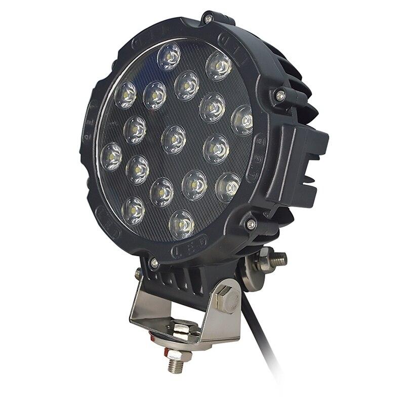 2 個 12V 7 インチ 51 ワットラウンド LED ワークライト Spot Flood Beam のための 4 × 4 オフロードトラックトラクター ATV SUV 駆動ランプ  グループ上の 自動車 &バイク からの ライトバー/ワークライト の中 2