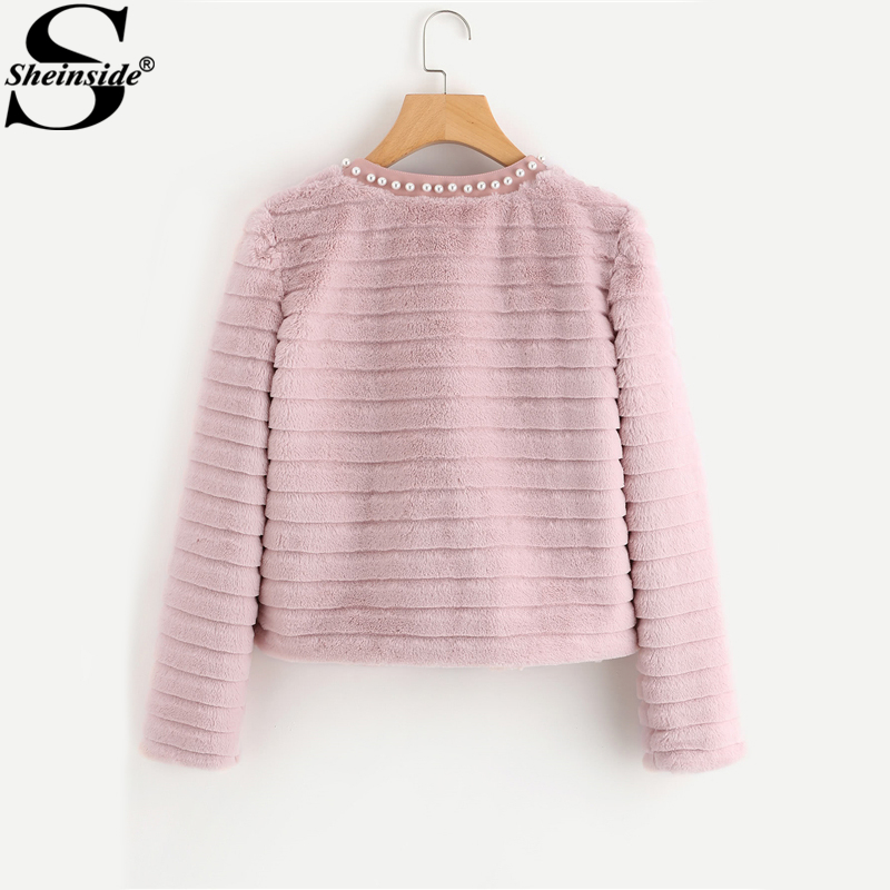 Sheinside Pink Pear Beading Textured Faux Fur Coat Winter Collarless Cute Outer With Lining Women's Elegant Coat 1