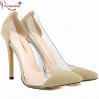 Sexy Pointed Toe High Heels Nightclub Shoes Woman New Style Fashion Transparent Shoes Plus Size35 42
