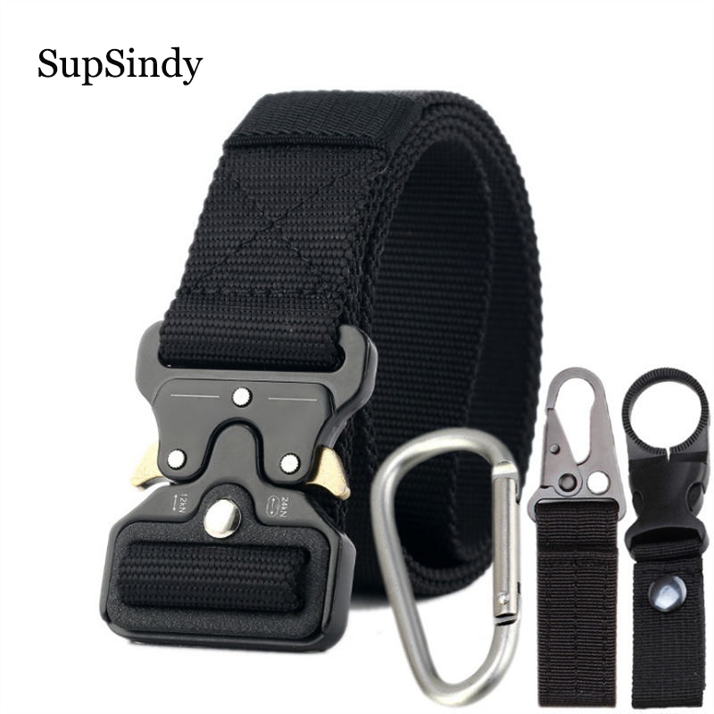 SupSindy men's canvas   belt   Quick release Metal buckle nylon Training   belt   military Army tactical   belts   for Men Jeans male strap