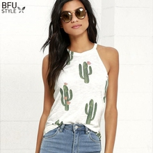 Cactus Print T Shirt Women 2020 Summer Casual Halter Harajuku Girl TShirt Tops T