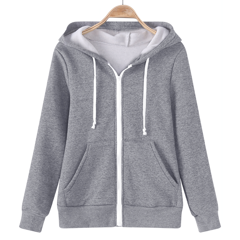 Plus Size Autumn Winter Hoodies Sweatshirt Women Long Sleeve Hooded Solid Color Casual Sweatshirts Loose Zipper Warm Overcoat