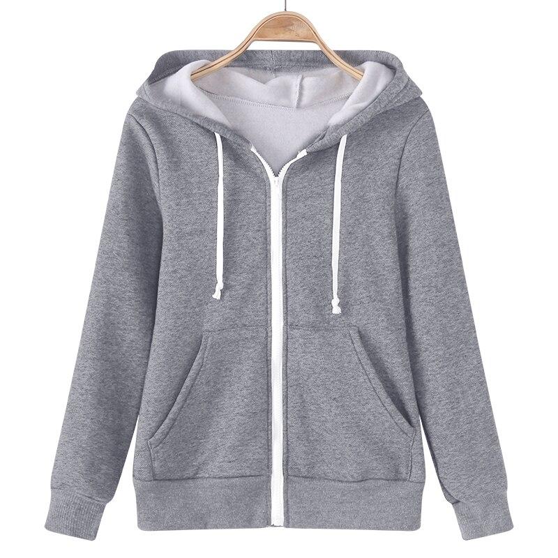 YUNY Women Relaxed Warm Mid-Long Zips Velvet Hoodie Solid Outwear Jacket Grey 3XL