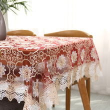 New Glass Yarn Lace Table Cloth Wedding Decor Translucent Table Cover Embroidered Tablecloth Tea Table Cloth Home Table Decor stainless steel tea table tempered glass tea table 1