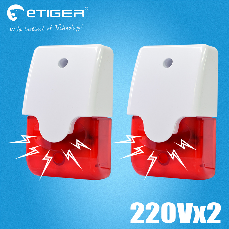 Etiger Indoor Wired Alarm Siren Strobe Flash Light 12V 24V 220V wire flash siren For wired zone gsm Alarm System etiger s3b etiger gsm sms alarm system solar power siren indoor siren ip camera super kit as same as chuango g5