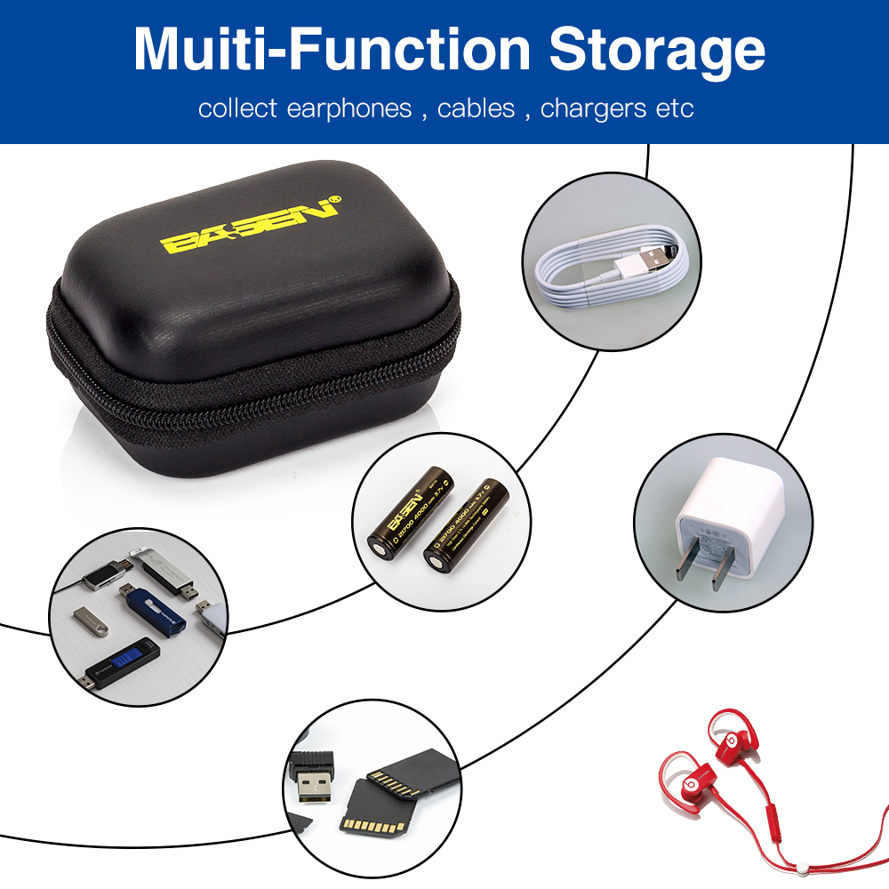 battery storage boxes for 10440 18650 21700 26650 Headset Memory card Headphone Earphone Earbuds USB Cable Case Bag Portable