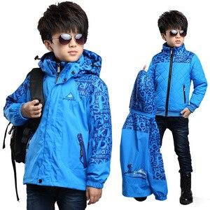 Image 4 - Kış erkek dış rüzgar geçirmez sıcak ceketler çocuk pamuk astar üçü bir arada giyim ve mont çocuklar su geçirmez baskı ceket
