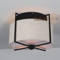 Amerikaanse land stijl ronde plafondlamp stof ijzer lamp slaapkamer plafondlamp eetkamer licht d400mm gratis verzending
