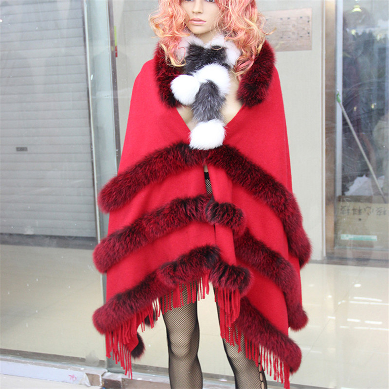 NEW 2016FASHION High-grade Pure Cashmere Fox Fur Scarf Coat Spring Autumn Winter Warm Thick Shawl Anti-season Sales Freeshopping 2017 winter new clothes to overcome the coat of women in the long reed rabbit hair fur fur coat fox raccoon fur collar