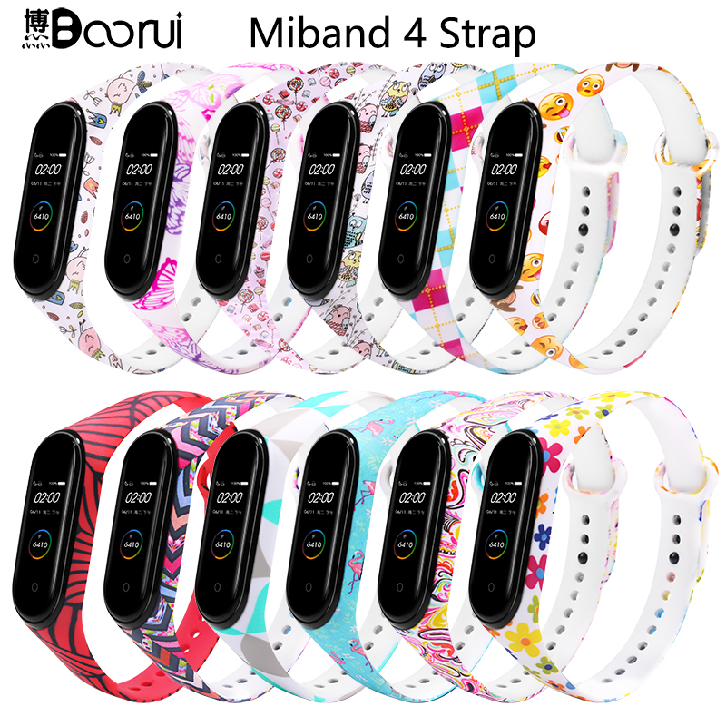 BOORUI Newest Mi Band 4 Strap Waterproof Silicone Painting Flowers Belt Miband 4 Accessories Strap Replacement For Xiaomi Mi 4