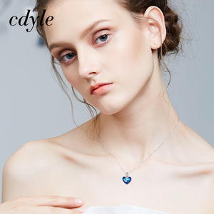 Image 2 - Cdyle Embellished with crystal Pendant Blue AB Color Heart Shaped Trendy Engagement Jewelry Bijoux Sexy Lady