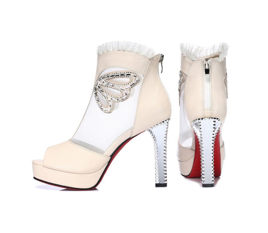 Nouvelle Épais noir Beige Talons Bouche Femmes Avec Simples Maille Chaussures Poissons D'été Hauts Sandales 2019 De À Dames ETwqRgxXFx