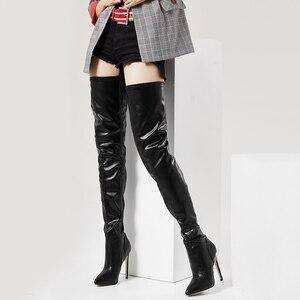 Image 4 - Jialuowei 허벅지 높은 부츠 스틸 레토 발 뒤꿈치 섹시한 전체 지퍼 무릎 긴 부츠 옻칠 한 특허 블랙 플러스 크기 36 46