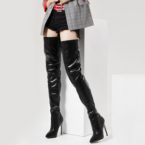 Image 4 - jialuowei Thigh High Boots Stiletto Heels Sexy Full Zipper Over the knee Long Boots Lacquered Patent Black Plus Size 36 46