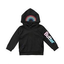 d9dadb616ea Moda Niño niña ropa Arco Iris unicornio caliente HOODIE manga larga  Camisetas tos puente Niñas negro ropa traje de niños