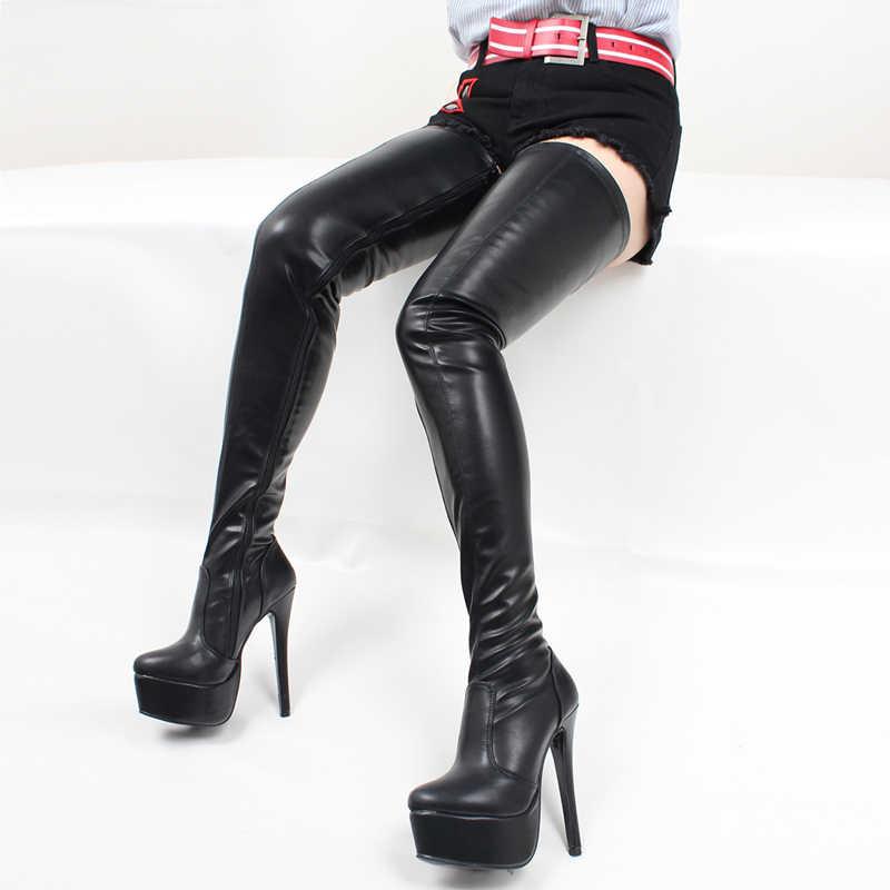 Jialuowei النساء الفخذ أحذية عالية مثير سوبر عالية رقيقة كعب منصة الأحذية وأشار اصبع القدم سستة الإفراط في الركبة أحذية عالية الرقص