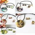 Apuramento subiu banhado a ouro Feather Series 5 cores pena projeto esmalte jogo da jóia ( colar, Brincos, Anel )