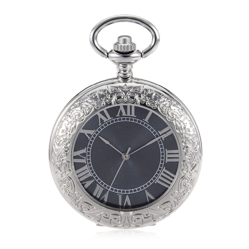 Antique Style Skeleton Steampunk Silver Case Mens Wind Up Mechanical Blue Dial Pocket Watch W/Chain Relogio De Bolso