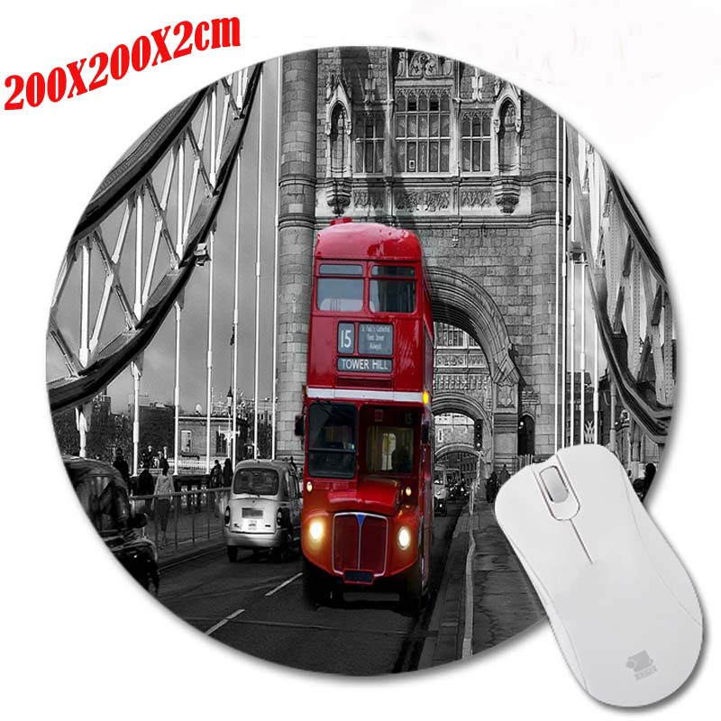 New High Quality London Bridge And Bus Pattern Durable Gaming Optical Computer Mouse Mat Mice Pads Soft Silicone Round Mouse Pad