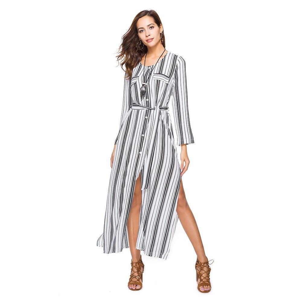 ab091b197c3 SMTZZJ 2018 Vintage Red white Striped Women Summer Dresses Sexy Split  Office Ankle Dress Casual Long Sleeve Shirt Dress Vestidos-in Dresses from  Women s ...