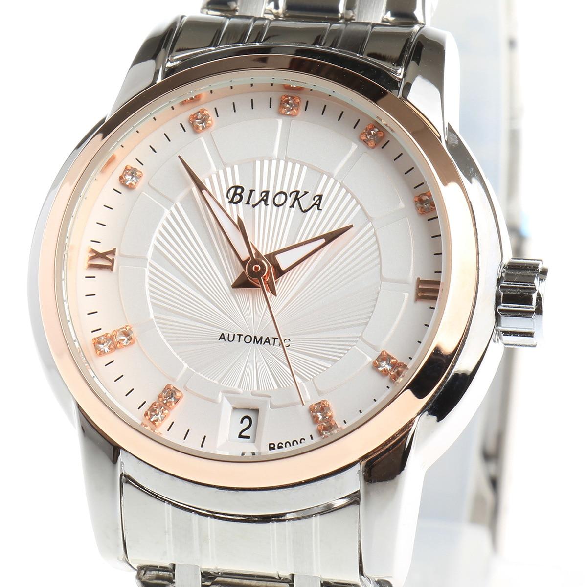 BIAOKA 브랜드 패션 로즈 골드 시계 여성 시계 클래식 기계 손목 Relogio Feminino 드레스 해골 방수 시계