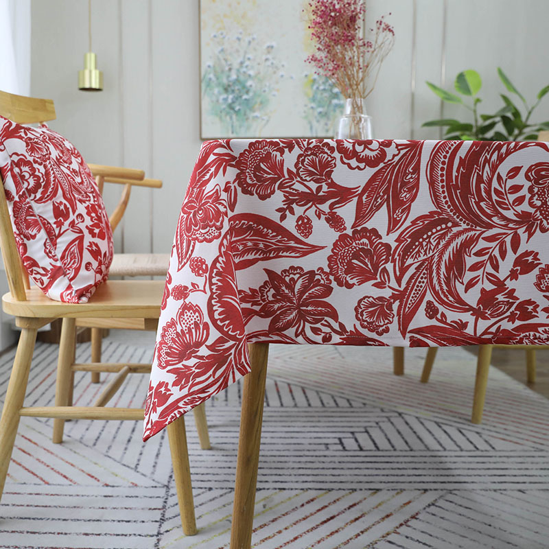 Image 3 - European Style Waterproof Red Flower Printed Tablecloth Rectangular Table Cover Wedding Party Home Textile Decor tafelkleed Hot-in Tablecloths from Home & Garden