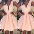Sexy A-Line Satin Cocktail Dresses 2017 V-Neck Sleeveless Mini Pink Prom Dresses Short Party Dresses Custom Made Plus Size
